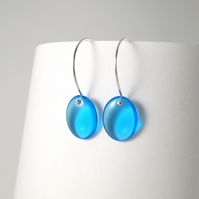 Light Blue Simple Earrings in Sterling Silver