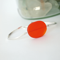 Seaglass and Silver Bracelet in Tangerine Orange