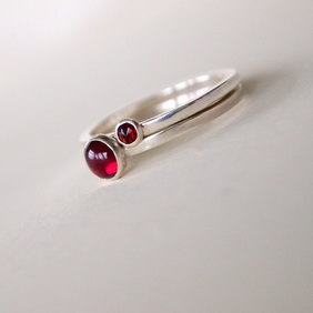 Garnet & Sterling Silver Stacking Rings, Set of Two
