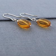 Amber Glass Sterling Silver Drop Earrings