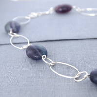 Sterling Silver and Fluorite Short Necklace