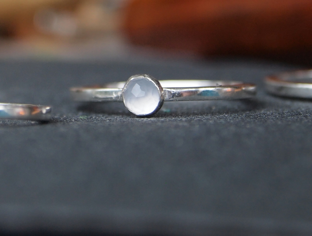 Sterling Silver gemstone Ring in Blue Chalcedony