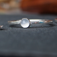 Sterling Silver gemstone Ring Blue Chalcedony
