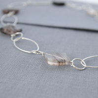 Sterling Silver Semi Precious Necklace- Black Moss Agate