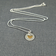 Sterling Silver Heart Pendant with Golden Coloured Heart