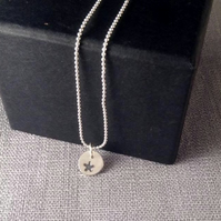 Teeny Tiny Stamped Star Pendant and Chain. Last minute Gift