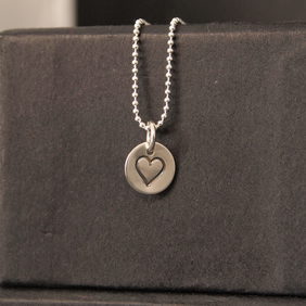 Heart stamped Circle Tiny Pendant and Chain