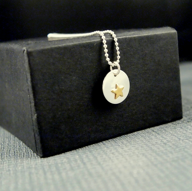 Sterling Silver Star Pendant with Golden Coloured Star and Sterling Silver