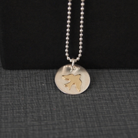 Sterling Silver Swallow Pendant with Golden Coloured Swallow Bird