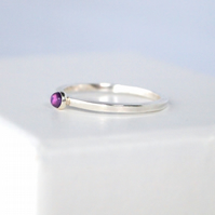 Amethyst Stacking Ring, 3mm Stone and Sterling Silver