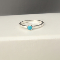 Turquoise Silver Ring, 4mm Turquoise in a Sterling Silver Band