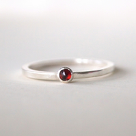Garnet Stacking Ring, January Birthstone Jewellery