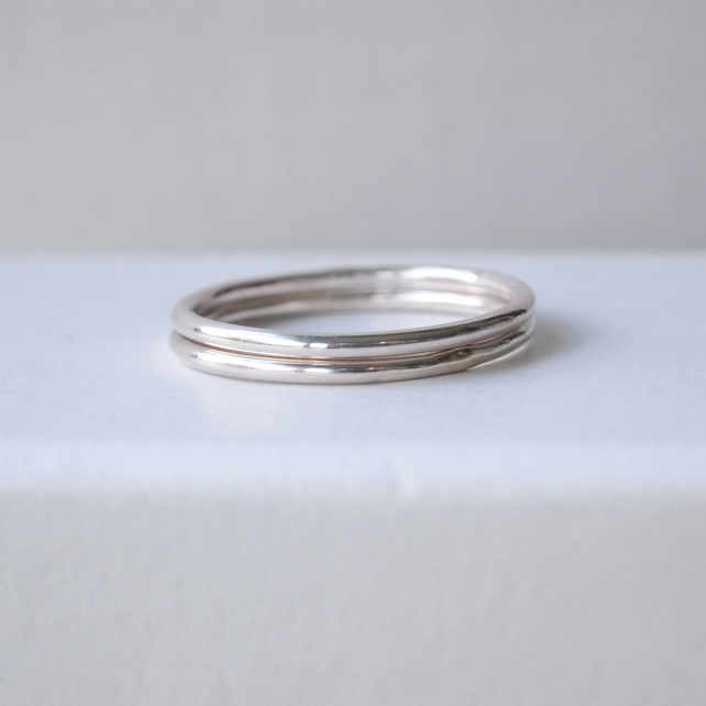 Plain Band Silver Stacking Rings