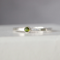 Green Tourmaline and Silver Ring