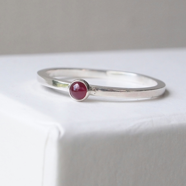 Ruby Stacking Ring Silver, July Birthstone Gift