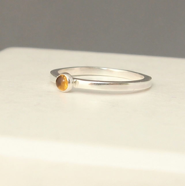 Citrine Silver Ring, November Birthstone Ring