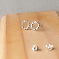 Stud Earrings, Dotty Silver Loops, Sterling Silver Studs. Last minute Gift