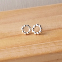Small Dotty Hoop Earrings, Sterling Silver Studs