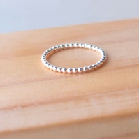 Bubble Silver Band Ring. 1.5mm Thick Silver Ring, Dots Ring