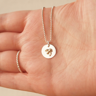 Bee Necklace, Bumble Bee Pendant Chain, Sterling Silver Pendant