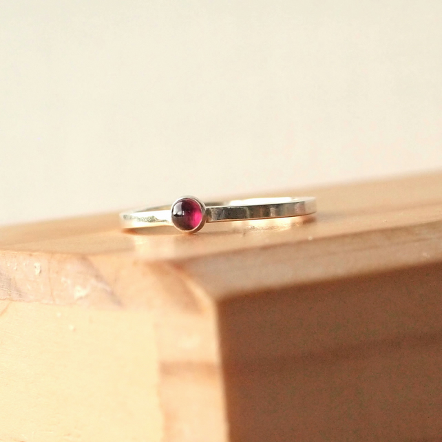 Garnet Silver Ring, January Birthstone Ring