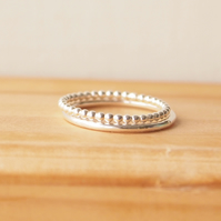Silver Band Rings in Bubble Style and Plain Band Silver