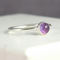 Amethyst Silver Ring, February Birthstone Jewellery, Purple Ring
