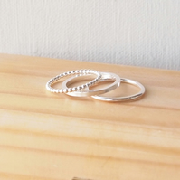 Stacking Rings Triple Set, Three Textured Silver Band Rings