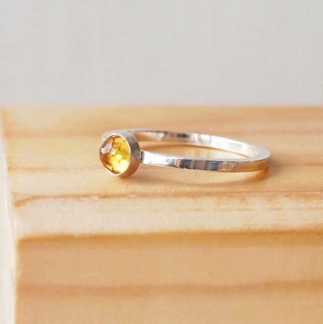 Citrine Birthstone Ring. Sterling Silver November Birthstone Jewellery