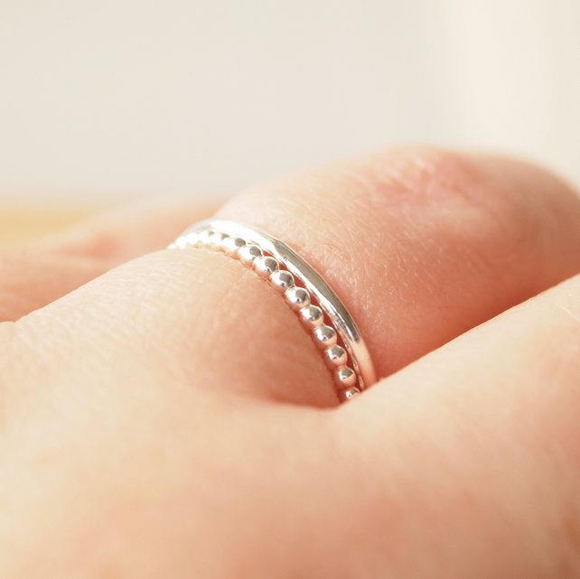 Stacking Rings Double Set, Two Textured Silver Band Rings