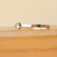 Aquamarine Stacking Ring in Sterling Silver, March Birthstone Jewellery