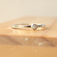 Opal Ring in Sterling Silver, Stacking Ring, October Birthstone Jewellery