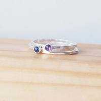 Stacking Ring Set with Amethyst and Sapphire