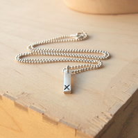 Silver Bar Pendant, marked with a kiss, X marks the spot necklace