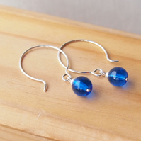 Silver Blue Hoop Earrings, Cobalt Blue Hoop Style Drop Earrings