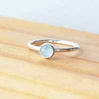 Aquamarine Stacking Ring, March Birthstone Ring