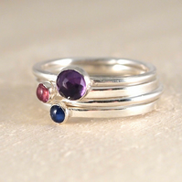 Personalised Mother's Birthstone Ring Set, Family Birthstone Stacking Ring Set