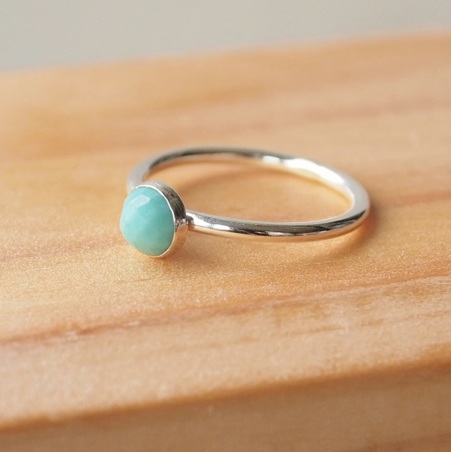 Turquoise Ring in Silver, December Birthstone Jewellery, Aqua Ring