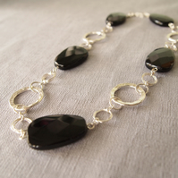 Black and Silver Statement Necklace with Black Jet