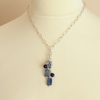 Silver and Blue necklace lariat Style