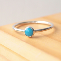 Turquoise and Silver Cabochon Ring