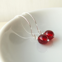 Red Hoop Earrings in Silver and Glass