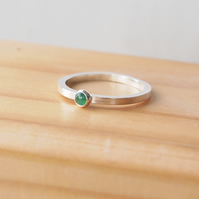 Emerald Ring in Sterling Silver, Stacking Emerald Ring
