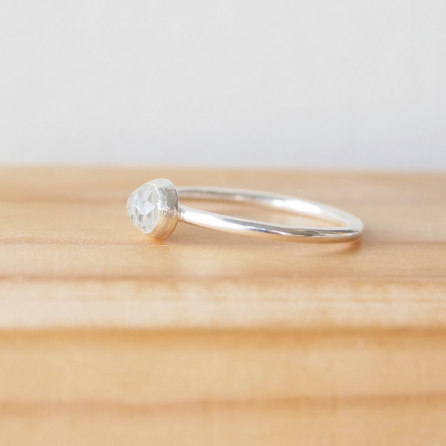 White Topaz Silver Ring. Stacking Style Birthstone Ring