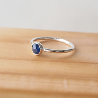 Sapphire Silver Ring, Sterling Silver and Rose Cut Sapphire Birthstone Ring