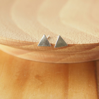 Small Triangle Stud Earrings, Geometric Stud Earrings
