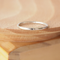 Promise Ring in Sterling Silver, Plain Band with stamped Kiss, Gift for GIrls