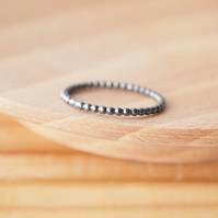 Black Silver Ring, Oxidised Silver Bubble Band
