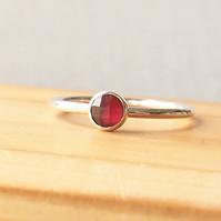 Garnet Ring in Silver, January Birthstone Jewellery, Facet Cut Garnet
