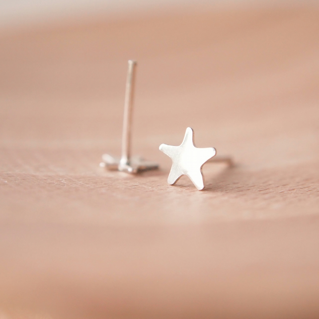 Tiny Silver Star Earrings, Sterling Silver Studs, Small Stud Earring